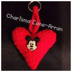 Hand knitted mouse heart keyring by CharismaLane on Etsy