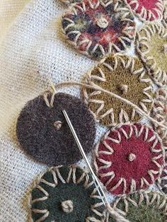 ideas embroidery stitches wool penny rugs for 2019 – hand embroidery Fabric Art, Fabric Crafts, Sewing Crafts, Sewing Projects, Art Projects, Wool Embroidery, Embroidery Stitches, Embroidery Designs, Wool Applique Quilts