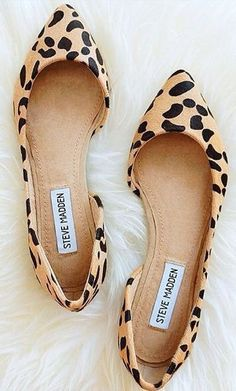 Leopard Print Flat Shoes - these will look great with black jeans and a white button-down shirt or red/coral dress pants and a white or black top.