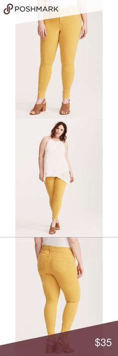 """NWT Torrid Mustard Yellow Jeggings Our jegging fit + a pop of color = obsessed. The same slim fit from hip to ankle, the same tummy-smoothing three-button higher rise waist, the same comfy stretch. Mix in a hipster-approved mustard yellow wash that's super on trend? Total game-changer. * Higher-rise * Size 18: 11"""" leg opening * Short 27"""", Regular 29"""", Tall 31"""" * Cotton/rayon/polyester/spandex * Wash cold, dry low * Imported plus size jeggings  ➡️No Trades. ➡️No Lowball Offers. ➡️No Holds…"""