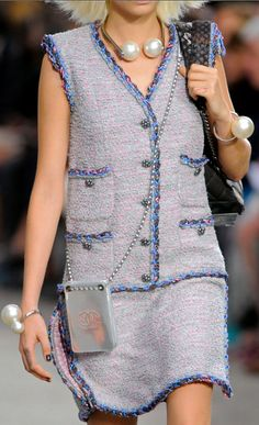 Chanel, 2014 ~ love this! love the trim! want the cross body phone case!
