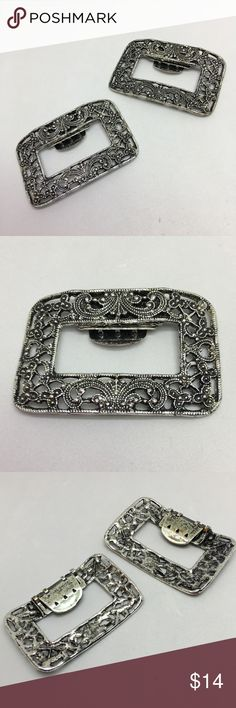 "🆕Vintage Silver Shoe Clips A pair of 2 1/4"" x 1 1/2"" silver shoe clips with Art Deco detail! Each has a 1"" clip on the reverse; both work perfectly. They are marked ""Pat Pending""; the marking is clearer on one than the other. Aside from some loss of plating on the clips themselves from wear, both are in very good vintage condition! Sure to make your dressy shoes even dressier! Vintage Jewelry"