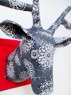 Paper Mache Reindeer Head - Covered in Black and White Decoupage Paper