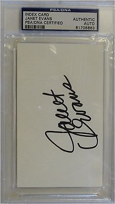 Janet Evans Hand Signed Autographed Index Card Olympic Gold PSA/DNA Encapsulated