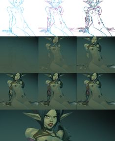 Digital art process by Otto Schmidt process for young elf warrior.