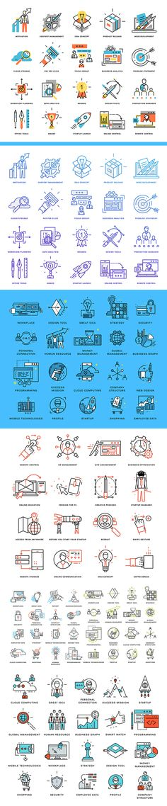 Simple vector icons in diverse categories and different color variants.