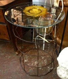 "Cage Table With Glass Top  25"" High x 18"" Diameter  $35 Each  Dealer #1680   White Elephant Antiques 1026 N. Riverfront Blvd. Dallas, TX 752..."