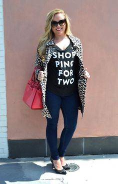 The Shopping For Two tee is such a cute look when showing off your bump! Available at www.baby-chick.com.