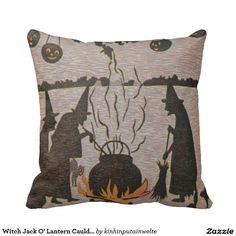 Witch Jack O' Lantern Cauldron Black Cat Throw Pillows