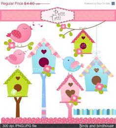 ON SALE Birds and Birdhouse Digital clip art, Birds clipart, flowers clip art, birdhouse clip art, pink, blue INSTANT Download