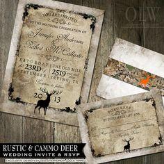 Rustic Distressed Camo Tree Wedding Invitation Suite - Deer, Wood, Fall, Hunter- Digital Invitation, RSVP card