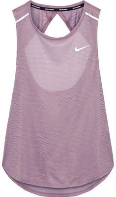 Nike - Breathe Open-back Stretch-mesh Tank - Lilac The back is super pretty. The sheerness keeps it sexy but not in a show off kind of way. Sporty Outfits, Nike Outfits, Athletic Outfits, Athletic Wear, Athletic Tank Tops, Athletic Clothes, Workout Attire, Workout Wear, Sport Fashion