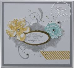 Amazing sympathy WOW card from Andrea Roose. Stampin Up Stamp Sets: Everything Eleanor, Gorgeous Grunge and Petite Pairs (words) #stampinup #cardmaking by lois