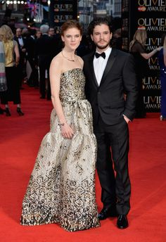 Game of Thrones stars Rose Leslie and Kit Harington wearing Burberry tailoring to last night's Olivier Awards in London Strapless Dress Formal, Prom Dresses, Formal Dresses, Famous Celebrities, Celebs, Celebrities Fashion, Rose Leslie, Gold Gown, Cocktail Gowns