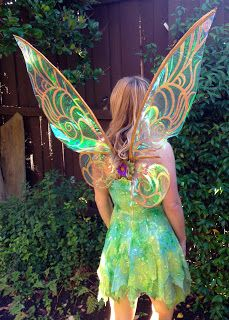 Fire Pixie Fashion: Cellophane Tinkerbell Wings Tutorial fairi wing, diy halloween costumes, wings costume, tinkerbell costume, fairy costume ideas, parti