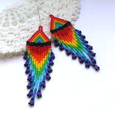 Rainbow Long Dangle Seed Bead Earrings-Long Beaded от Galiga