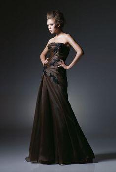 A-line Strapless Ruche Bodice Floral Applique Organza Evening Dress-soe0021, $192.95