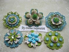 Creamy Collection Teal and  Green Paper Embellishments and Paper Flowers for Scrapbooks Cards Mini Albums and Papercrafts. $5.95, via Etsy.