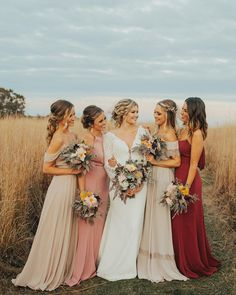 Bridesmaid Dresses Bride wife wedding bouquet field outdoor outside bridal party bridesmaid maid of honor - Taupe Bridesmaid, Mismatched Bridesmaid Dresses, Bridesmaids And Groomsmen, Wedding Bridesmaid Dresses, Wedding Bouquet, Bridesmaids With Different Dresses, Bridesmaid Outfit, Mismatched Groomsmen, Wedding Gowns