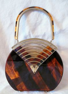 Vintage Lucite Tortoise & Clear Unusual Mod Deco Box Purse NR