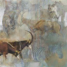 Sable - Emily Lamb - oil on canvas Wildlife Paintings, Wildlife Art, Animal Paintings, Animal Drawings, African Animals, African Art, Wild Life, Africa Painting, Forest Drawing