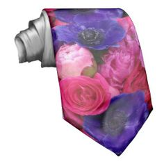 Great idea for the groom or groomsmen and ushers at a wedding, engagement party, or couple's shower where pink or purple is part of the color scheme. Would be cute for a prom or homecoming tie, too. ♥ Hot Pink & Purple Floral Tie Peonies Roses Anemone
