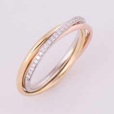 Three Tone Ring, 18K Gold And Diamonds Band, Anniversary Ring, Wedding Ring,