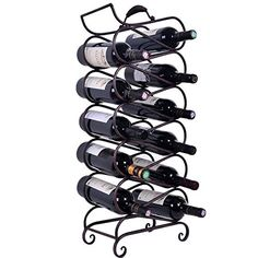 Wine Racks - WELLAND Scrollwork Black Metal Wine Rack with Handles 11 Bottle Holder Free Standing Wine Organizer Rack -- Learn more by visiting the image link.