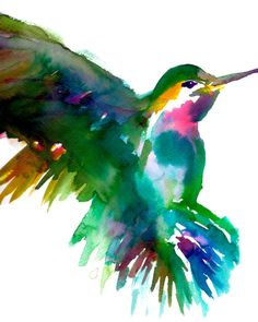 "Print of Original Watercolor Painting, Titled: ""Melody the Hummingbird"" by Jessica Buhman 8 x 10 Green Pink Yellow Blue Purple Bird... Can order larger"