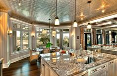 Tin ceilings, anyone? Awesome Kitchen.
