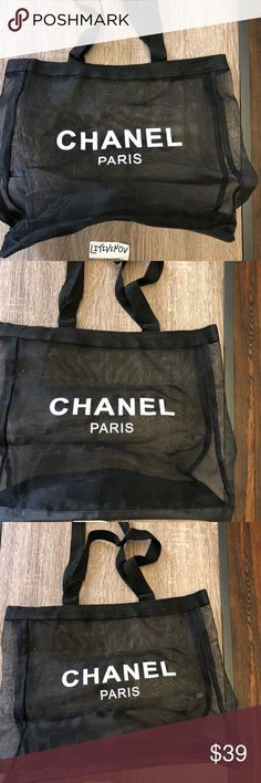 "Chanel beauty VIP gift shoulder tote bag Authentic Chanel beauty VIP gift nylon tote beach bag.  Used twice. Open to reasonable offers.  Condition: excellent ( see photos, It's just a little messy bc I don't use it, it's been folded in my closet )  Color: Black  Style: Tote Shopping Bag  Material: Mesh/Nylon  Size: 17"" x  11"" x 4""  Magnetic Closure  This is a VIP complement from Chanel Beauty, it does not include hologram sticker, box, dust bag or serial number. CHANEL Bags Shoulder Bags"