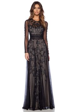 """all-black-all-the-time: """"Embroidered Long Sleeve Gown """""""