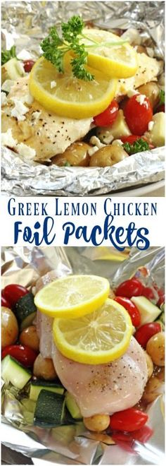 These Greek Lemon Chicken Foil Packets are an easy summertime meal with virtually no clean up. Perfect for camping or just an easy dinner at home! via @favfamilyrecipz
