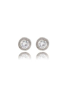 Cubic Zirconia Halo Earrings from THELIMITED.com