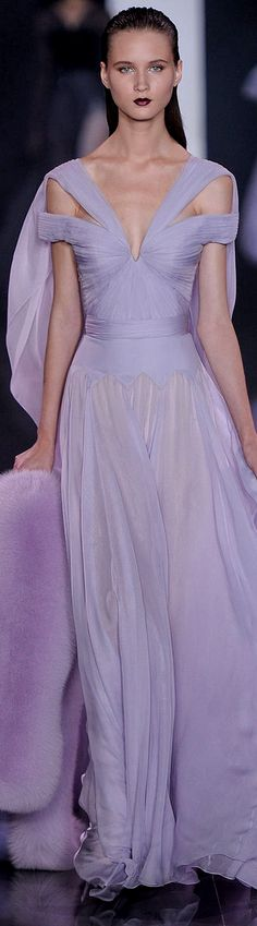 Ralph & Russo Fall 2014-2015 Couture Collection | lavender | violet chiffon dress
