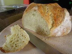 Artisan Bread Basic Recipe: showing here is the crumb (interior of the bread). (From the Artisan Bread in Five book.)