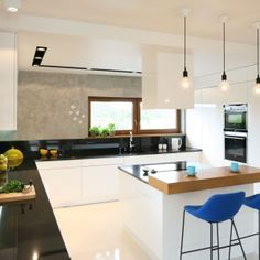 Like the island's wood slab counter + the 3 pendant lights. Wood Slab, Modern, Sweet Home, Interior Design, Table, Furniture, Home Decor, Pendant Lights, Google