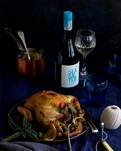 Roast chicken French-style with bacon, sage and chicken liver stuffing. Pie Recipes, Chicken Recipes, Cooking Recipes, Roast Chicken French Style, Steak And Kidney Pie, South African Recipes, Chicken Livers, Salted Butter, Food Photography