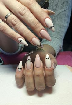 #acrylic #long #almond #nails #nude #glitter #nailart