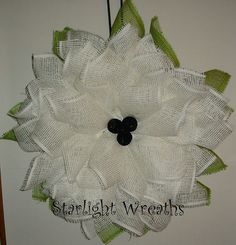 White Flower Paper Mesh Wreath Summer Decor by StarlightWreaths