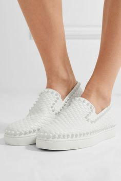 Christian Louboutin - Pik Boat Spiked Textured-leather Slip-on Sneakers - White - IT40