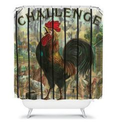 Shower Curtain Rooster Chicken Primitive Farm by FolkandFunky