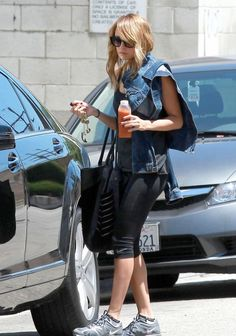 Nicole Richie leaves a West Hollywood gym in her Mercedes-Benz S-Class
