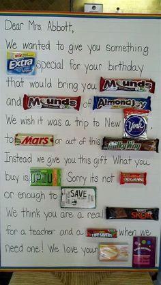 candy bar cards for teacher appreciation Teacher Birthday Card, Teacher Cards, Birthday Candy, Teacher Gifts, 50th Birthday, Birthday Crafts, Birthday Ideas, Grandpa Birthday, Birthday Parties