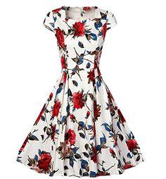 689deb8169 Spring Summer Retro Vintage Big Swing Party Dress Women Flower Print Slim  Elegant Fit and Flare Short Sleeve Casual Vestidos