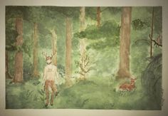 The Faun Watercolour.