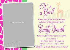 Personalized Pink Giraffe Photo Baby Shower Photo Invitations - DIY Printable