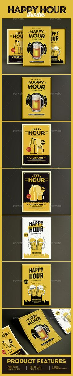 Happy Hour Beer Promotion Flyer Template PSD Bundle. Download here: http://graphicriver.net/item/happy-hour-beer-promotion-bundle/14831020?ref=ksioks