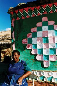 """Lesotho: The Basotho women's art of house decoration: Litema (pronounced as """"di-the-ma"""") In contemporary times the practice of Litema appears to be seasonal, associated with special events such as celebrations and religious ceremonies. It not only announces births, deaths, weddings or the arrival of Christmas and Easter, but also serves as a reminder of the passage of time."""