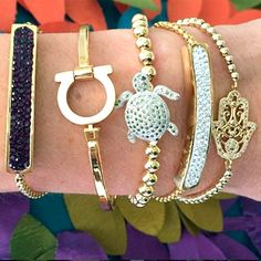 Set By Vila Veloni Gold Steel With Zirconia Bracelets